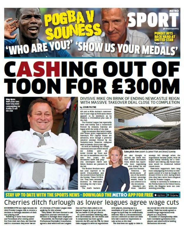 Wednesday's Metro back page