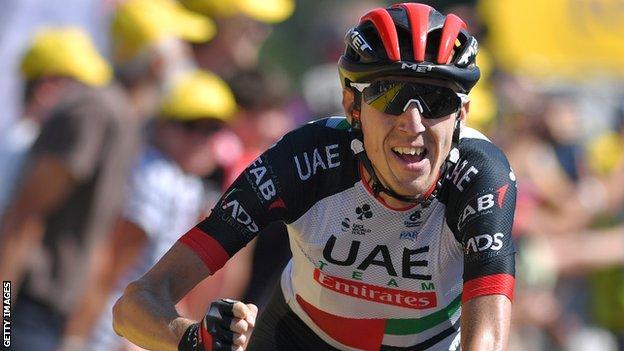 Dan Martin celebrates winning stage six of the 2018 Tour de France