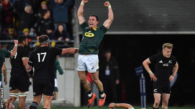 South Africa's Jesse Kriel celebrates victory over New Zealand