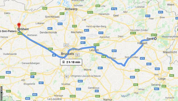 Google Maps showing the distance between Genk and Ghent