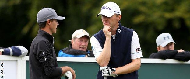 Michael Hoey chats to Chase Koepka on Thursday at Galgorm Castle