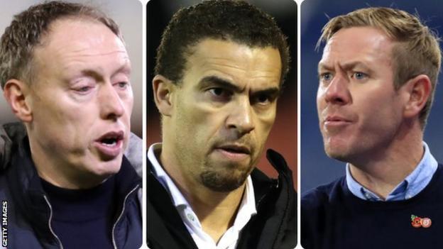 Swansea boss Steve Cooper (left) Barnsley boss Valerien Ismael and Bristol City head coach Dean Holden (right)