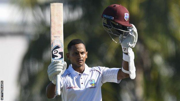 West Indies wicketkeeper Shane Dowrich celebrates reaching his century