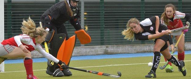 Olivia Roycroft of Cork Harlequins clears as Pegasus pile on the pressure in their 3-1 victory