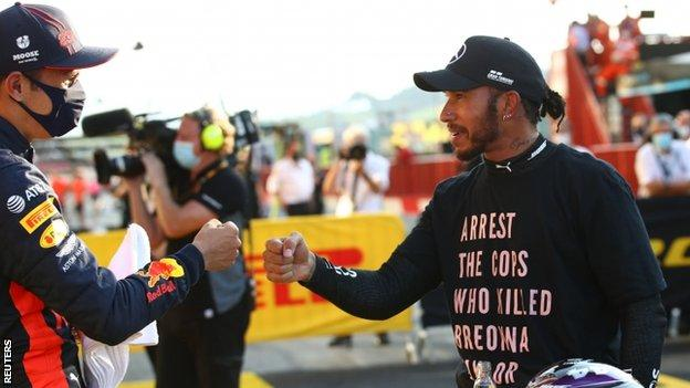 science Lewis Hamilton after winning the Tuscan Grand Prix
