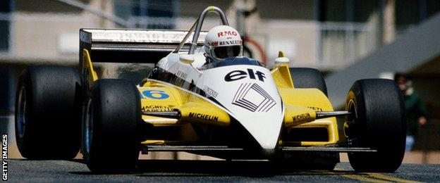 Rene Arnoux in the 1982 Renault