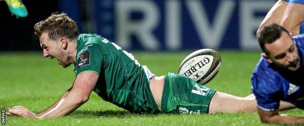 Connacht fly-half Jack Carty celebrates his try