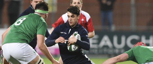 Adam Hastings in actin against Ireland Under-20s
