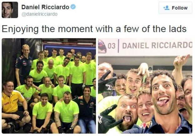 Daniel Ricciardo tweets after his second place in Singapore