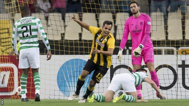 Rodrigo Galo celebrates after scoring for AEK Athens against Celtic