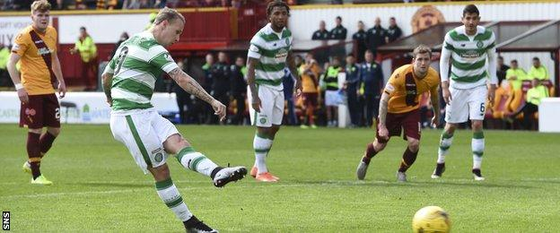 Leigh Griffiths misses a penalty for Celtic against Motherwell