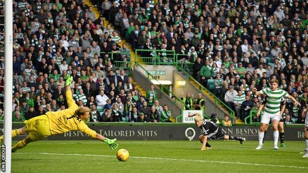 James Forrest goes close with a late chance for Celtic