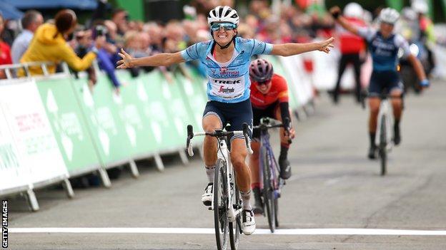 Britain's Lizzie Deignan celebrates winning stage five of the 2019 Women's Tour