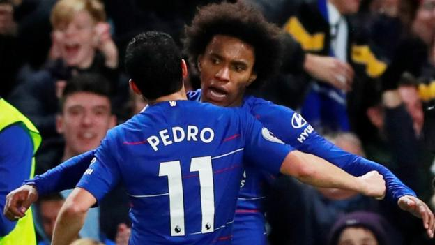 Chelsea 2-1 Newcastle United: Pedro and Willian goals give hosts victory thumbnail