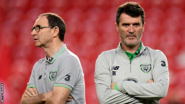 Republic of Ireland boss Martin O'Neill (L) and assistant Roy Keane will pit their wits against Wales manager Ryan Giggs
