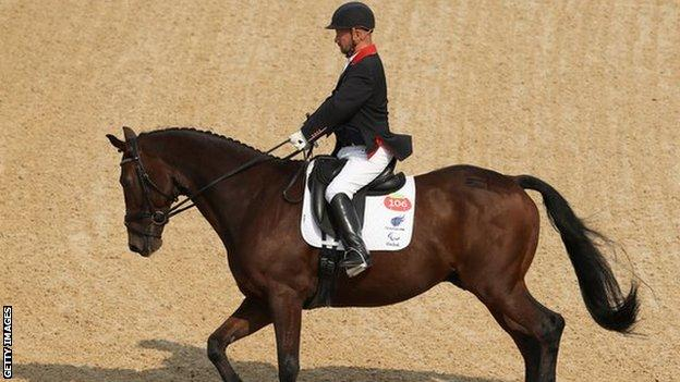 Lee Pearson of Great Britain, riding Zion, at the Rio Paralympic Games