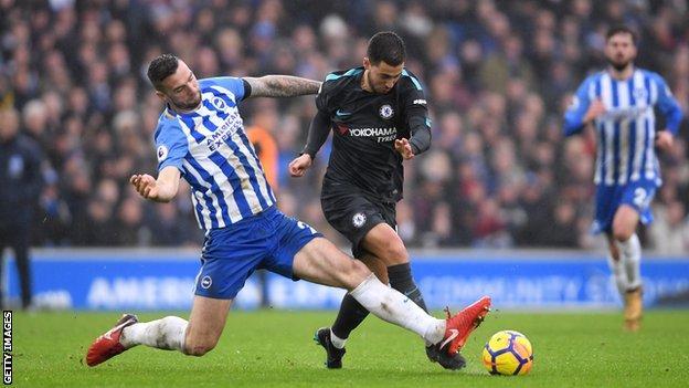 Shane Duffy tries to stop a free-flowing Eden Hazard