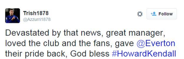 Everton fans tweet about Howard Kendall