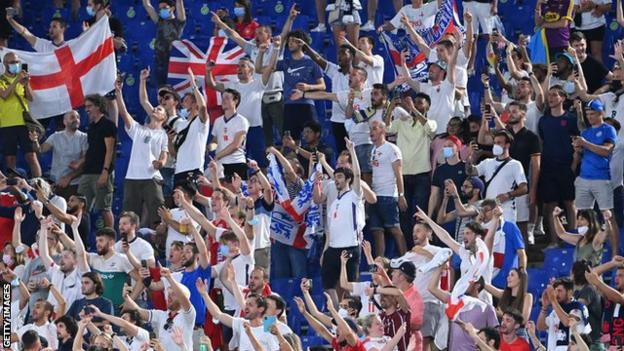Officially, there were up to 2,300 Europe-based England fans in Rome