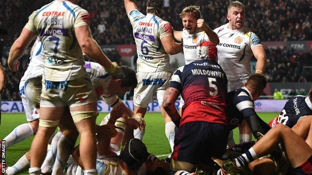 Exeter celebrate the penalty try that gave them victory against Bristol
