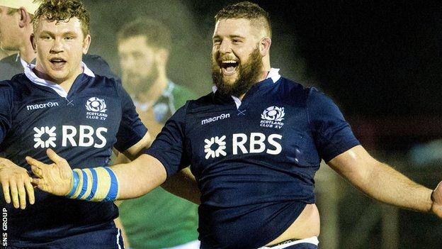 Nick Beavon in action for the Scotland club XV