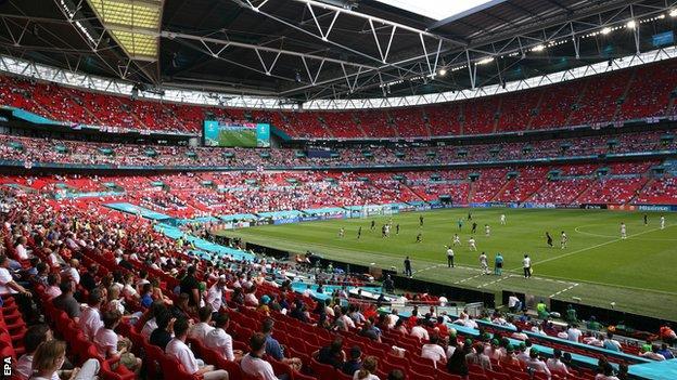 Wembley Stadium for England's Euro 2020 Group D fixture against Croatia