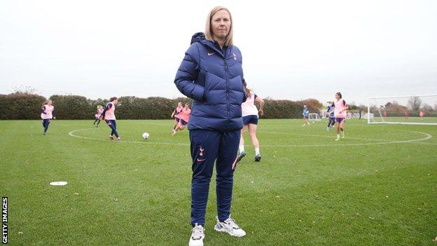 Rehanne Skinner at the Tottenham training ground