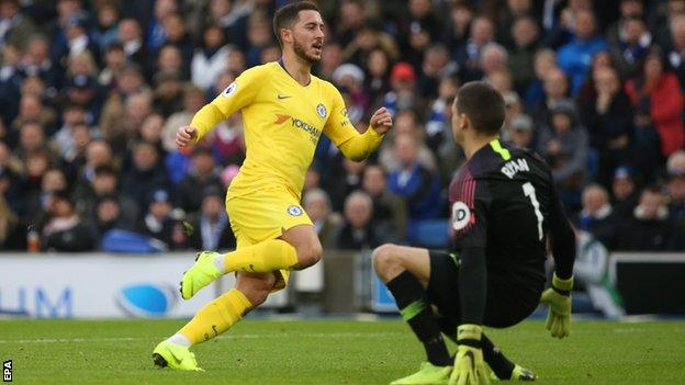 Eden Hazard scores for Chelsea against Brighton on Sunday