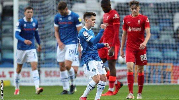 Liam Kelly of Rochdale celebrates after scoring a goal