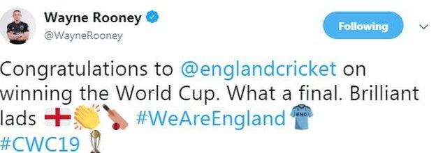 """Wayne Rooney tweet saying """"Congratulations to England on winning the World Cup. What a final. Brilliant lads"""""""