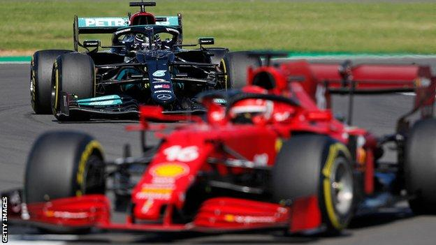 Lewis Hamilton closing in on Charles Leclerc in the lead