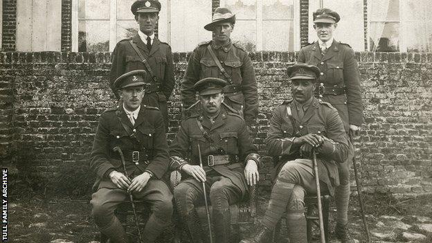 Walter Tull with his fellow soldiers during World War One