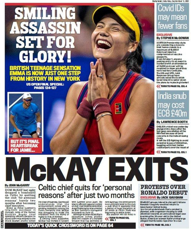 The back page of the Scottish Daily Mail on 110921