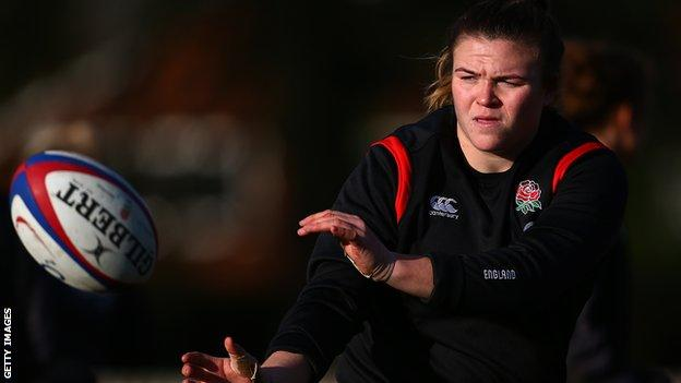 Sarah Bern in training with England