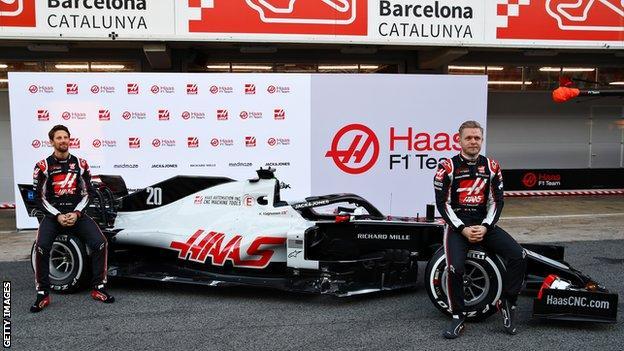 Haas launch car at Barcelona testing