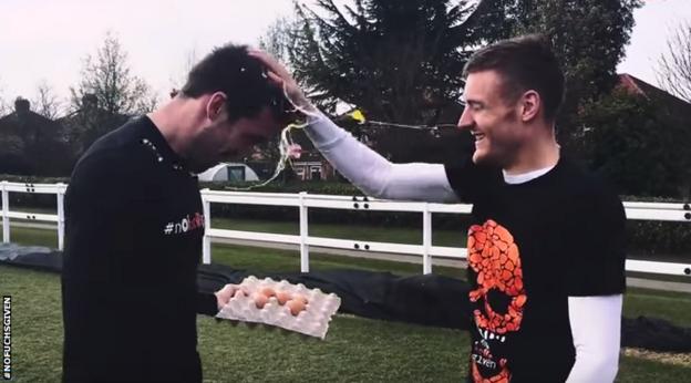 Jamie Vardy smashing an egg on Christian Fuchs's head