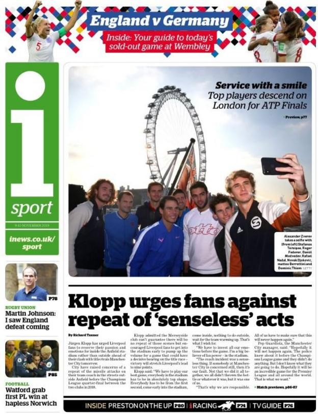 The sport section of the I newspaper