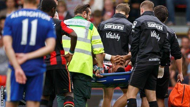 Tyrone Mings is stretchered off