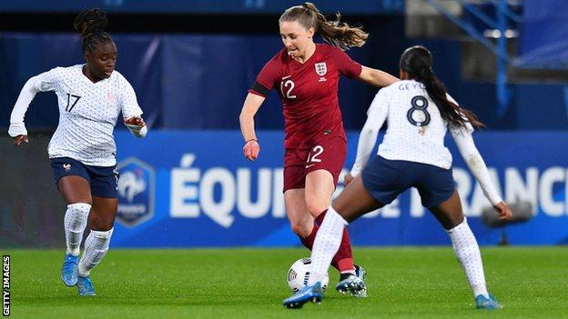 Niamh Charles on her England debut against France