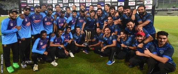 Bangladesh and Afghanistan share the T20 tri-series trophy