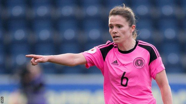 Jo Love makes a point for Scotland Women in their defeat by Iceland in Falkirk