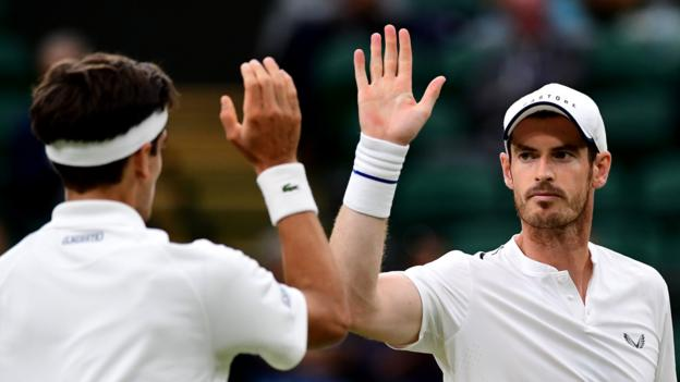Andy Murray returns to Wimbledon with men's doubles win thumbnail
