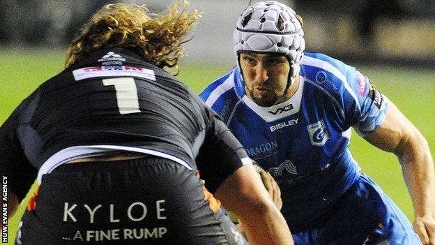 Ollie Griffiths in action for Dragons