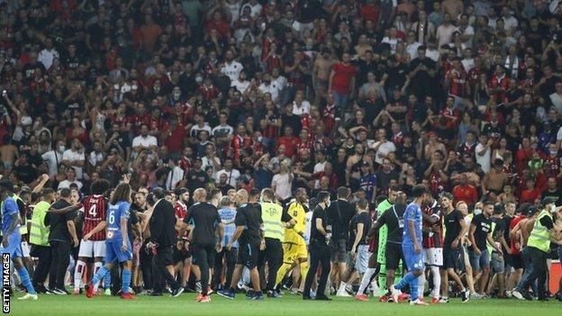 A melee ensued on the pitch