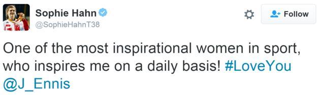 Tweet from British Paralympic champion Sophie Hahn