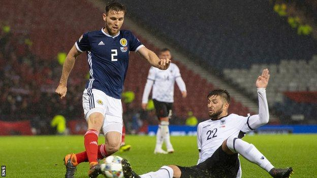 Stephen O'Donnell playing for Scotland against Albania