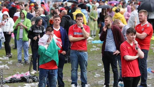 Wales fans at full-time