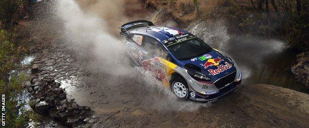 Sebastien Ogier in action in his Ford Fiesta in Mexico