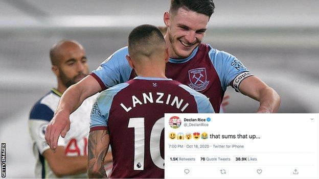 Declan Rice hugs Manuel Lanzini after his goal against Tottenham