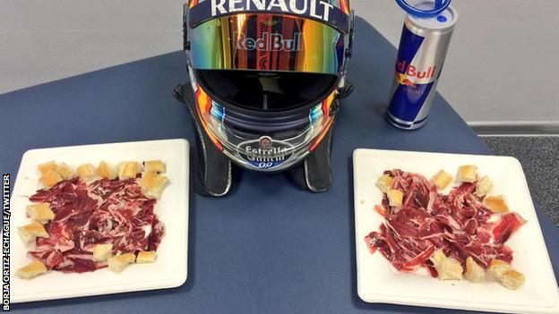 Carlos Sainz feasted on Spanish ham after Sunday's race